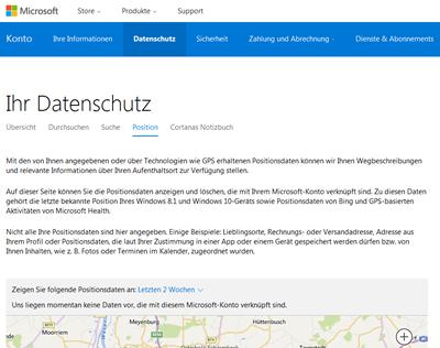 Screenshot: Datenschutz Microsoft-Webseite