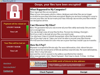 Wanna Cry Ransomware (Screenshot)
